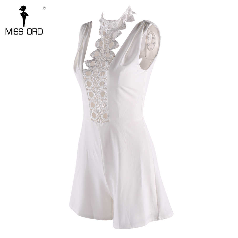 MISSORD 2019 Сексуальная с плеча выдалбливают collor белый цвет playsuit FT8232-1