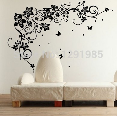 Flying Butterflies Vine Flowers Vinyl Wall Art Bedroom TV Background Wall font b Stickers b font