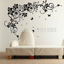 Flying Butterflies Vine Flowers Vinyl Wall Art Bedroom TV Background Wall Stickers 2017 fashion Removable PVC custom made