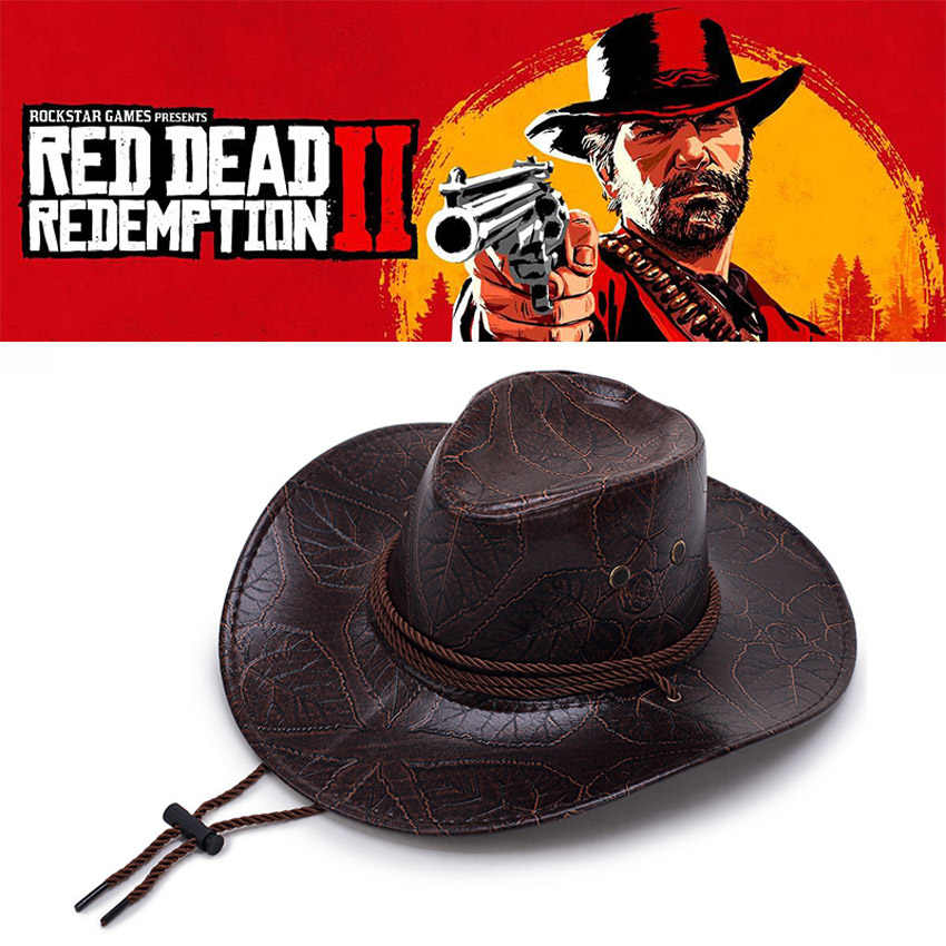 Faux Leather Game Red Dead Redemption 2 Western Cowboy Hat Halloween Cosplay Accessories Wide Brim Sun Shield Cap Props