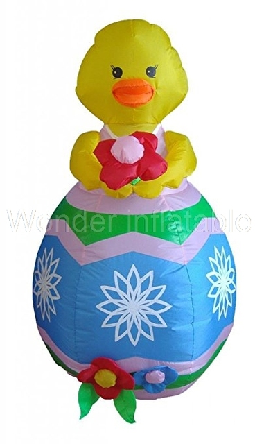 New designed 8 Foot Easter Decoration Inflatable Chick with Flower Sale