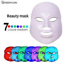 Rechargeable 7 Colors Light Photon Electric LED Facial Mask Skin PDT Skin Rejuvenation Anti Acne Wrinkle Removal Therapy Mask rechargeable anti aging pore cleanse skin firming 3 colors photon light ultrasonic ion vibrating massage facial skin care device