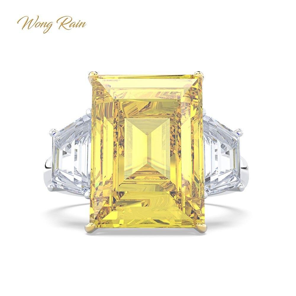 Wong pluie de luxe 100% 925 en argent Sterling Citrine pierres précieuses bague de fiançailles Cocktail bijoux fins livraison directe en gros