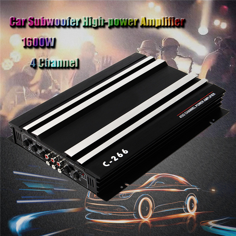 KROAK Car Amplifiers 1600 Watt 4 CH 4 Channel 12V Car Audio Power Amplifier Amp Aluminum Alloy Black Bluetooth Amplifiers black 12v car amplifier high power 1900w audio 4 channel 4 way amplifiers booster auto free shipping dropping