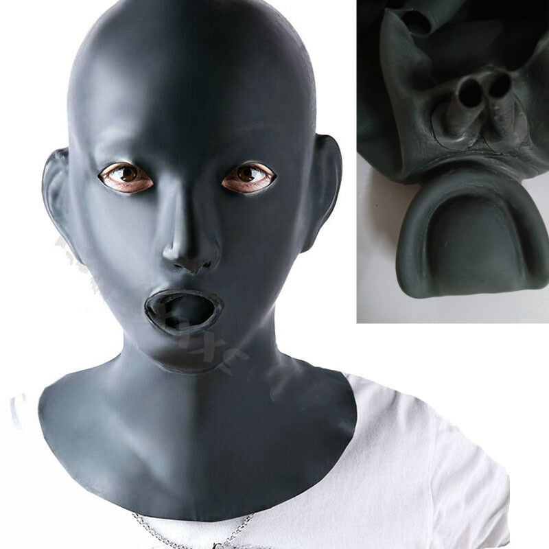Female Natural Latex Mask Hood Eyes Open With Mouth Gag Nose Tube For Women Cosplay Mask Halloween Mask