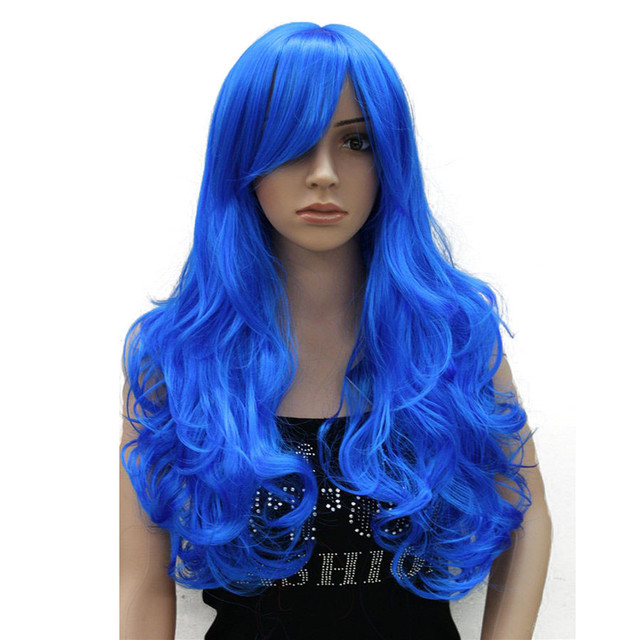 StrongBeauty Cosplay Wig Women s party Red Blue Pink Long Curly Hair with  Bang Synthetic Full Wigs 35851509c