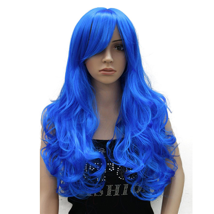 StrongBeauty Cosplay Wig Women's party Red Blue Pink Long Curly Hair with Bang Synthetic Full Wigs