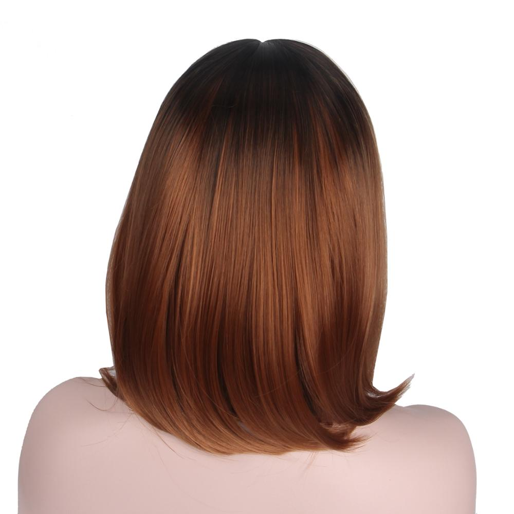 Short Brown Wig Bob Hair Ombre Colorful Cosplay Wigs for Black Women White Women Factory Directly No Bangs Dark Brown-Anxin