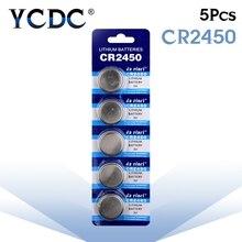 5 шт./упак. CR2450 аккумулятора кнопочного типа KCR2450 5029LC LM2450 ячейки литий Батарея 3V CR 2450 для мобильного часо-Электронная игрушка пульт дистанционного управления