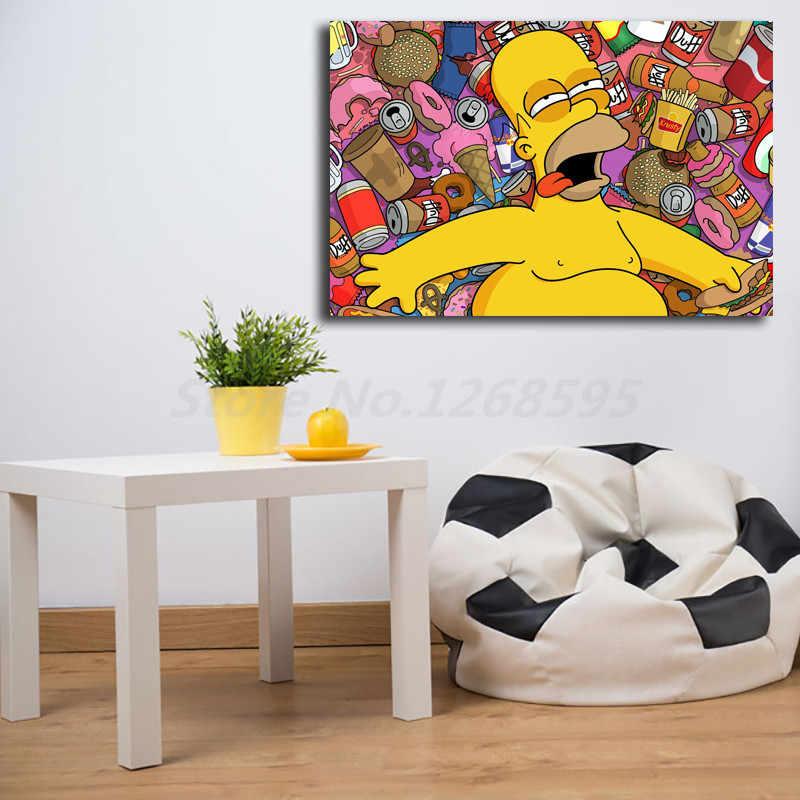 Homer Bart Simpsoning Dessin Animé Papier Peint Hd Affiches Sur Toile Imprime Art Mural Peinture Image Décorative Pour La Décoration Intérieure