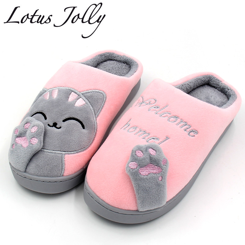Mulheres Chinelos Em Casa de Inverno Gato Dos Desenhos Animados Sapatos Casa Não-slip Suave Inverno Quente Chinelos Indoor Quarto Ama Casal Piso sapatos