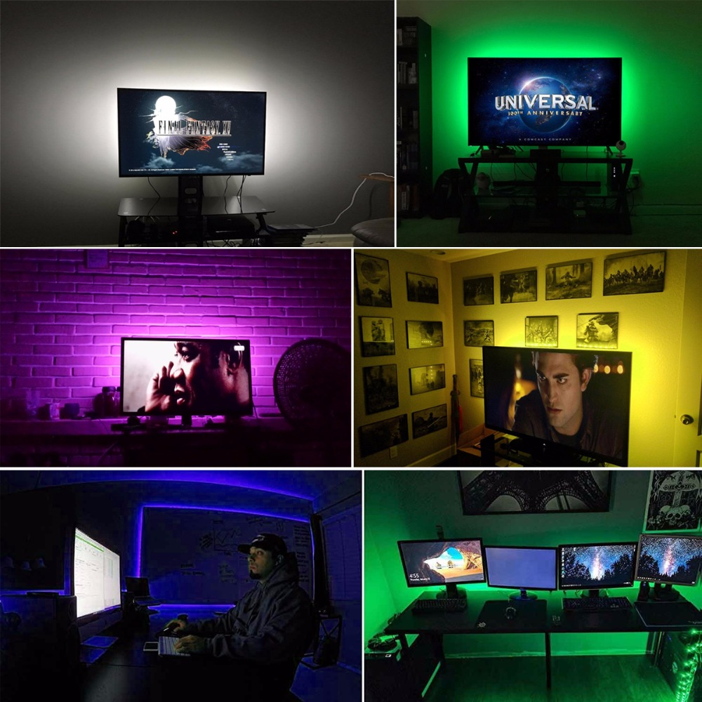 RGB USB LED Strip Backlight lighting For HDTV Desktop Flat Screen LCD TV PC Bias lighting 5V 1M 2M 3M 4M 5M 5050 SMD Decor l&-in LED Strips from Lights ... & RGB USB LED Strip Backlight lighting For HDTV Desktop Flat Screen ...