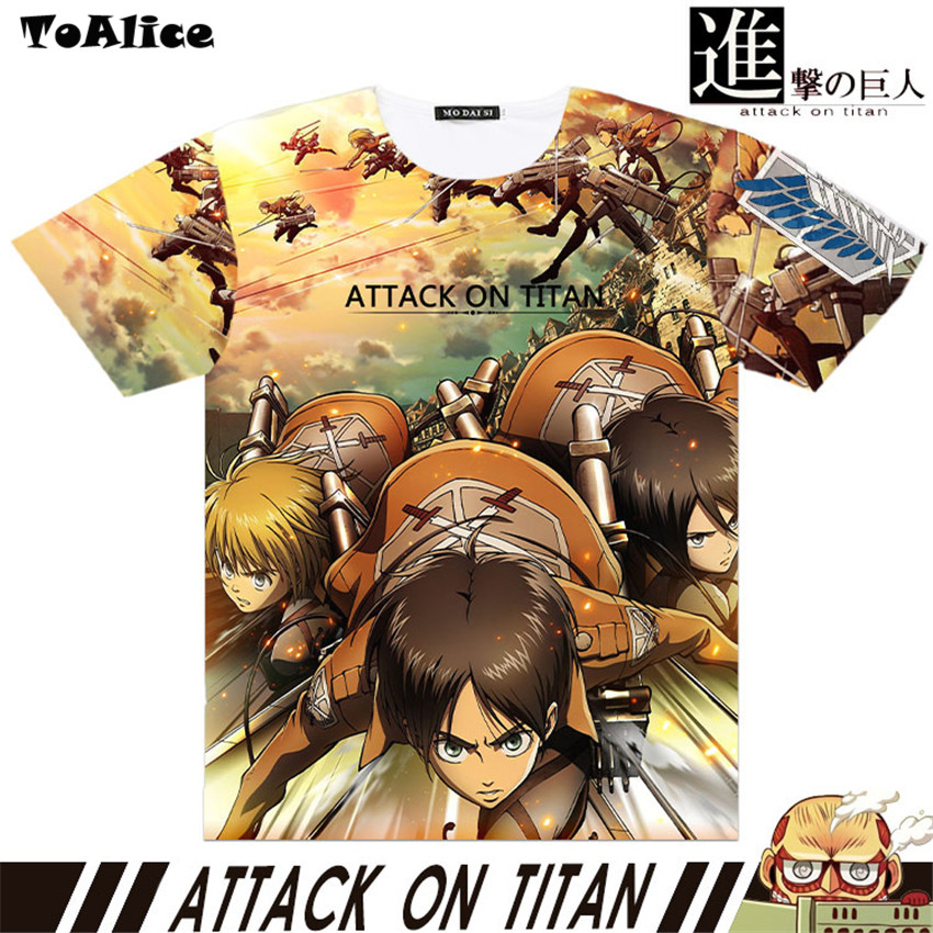 Brand Japanese Anime Attack On Titan Full Graphic T-shirts Print Men T shirt Tee Tops Short Sleeve High Quality Cosplay Costume