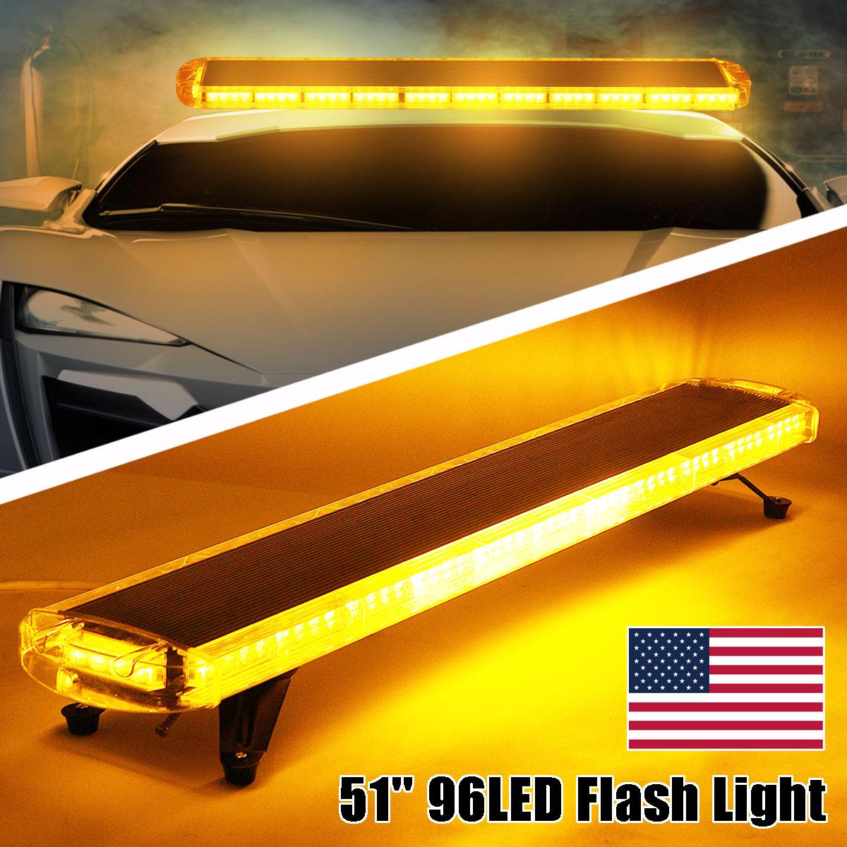 цена на Smuxi 51 96 LED Car Strobe Light Amber Beacon Fog Led Warning Emergency Lights Car Truck Polices Strobe Light Bar
