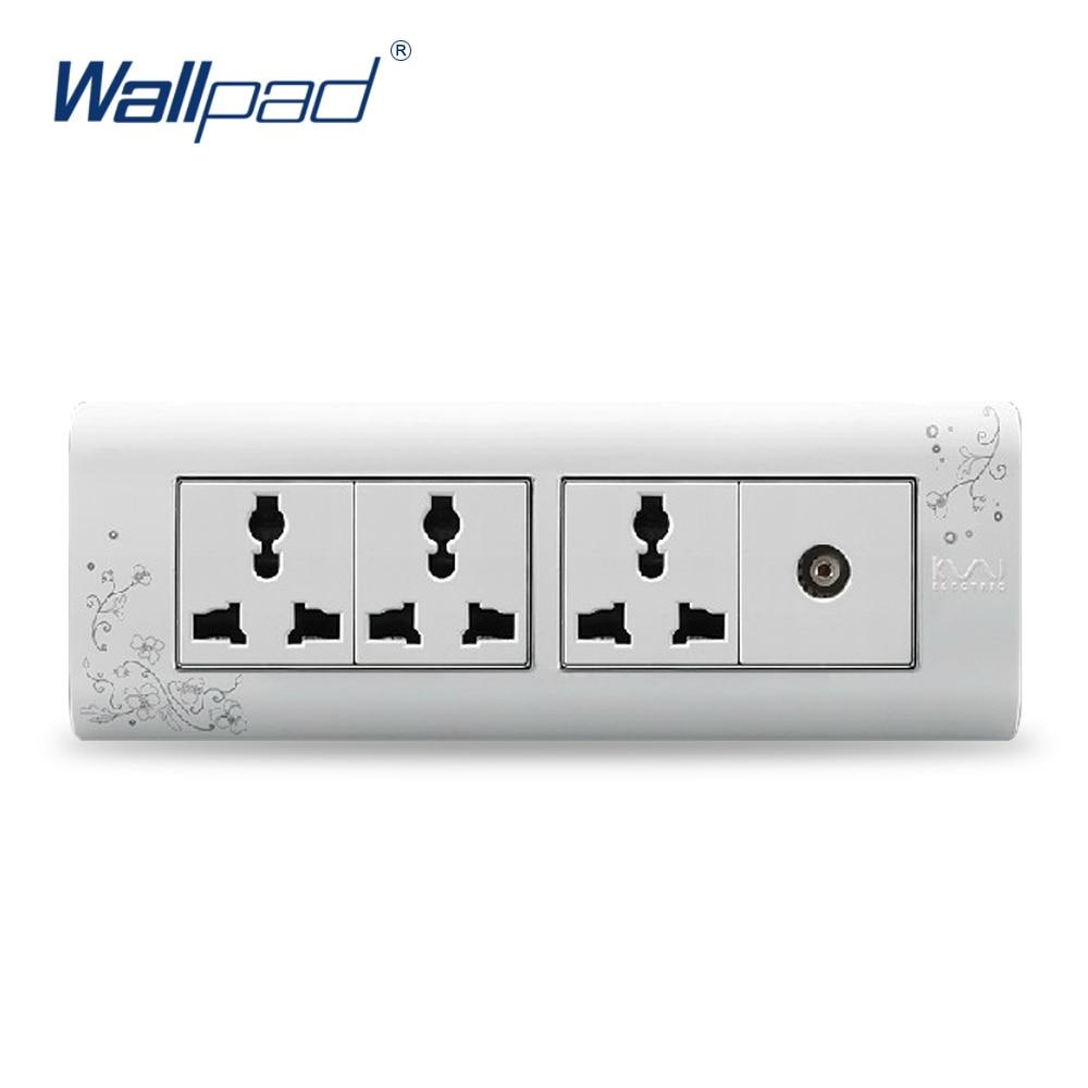 2018 Hot Sale TV 9 Pin Socket Wallpad Luxury Wall Switch Panel Plug Socket 197*72mm 10A 110~250V free shipping wallpad luxury wall switch panel 6 gang 2 way switch plug socket 197 72mm 10a 110 250v