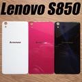 Para lenovo s850 case original volver puerta trasera de cristal cubierta de la batería de reemplazo de vivienda para lenovo s850 s850t con etiqueta adhesiva