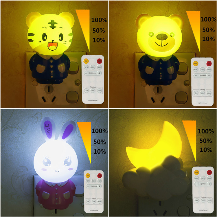 Led Night Light Lamp 0.5W AC220V With Remote Control Dimmer timed Baby Nightlight Cartoon For Children Bedroom, Passageway