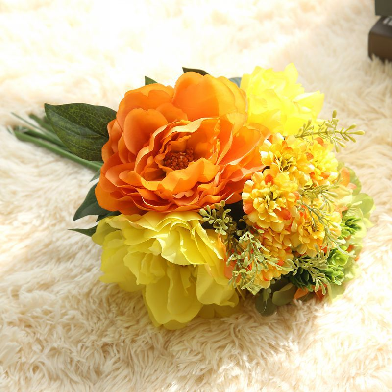 CAMMITEVER Milan Peony Hydrangea Artificial Bouquet Flower Home Wedding Decor Flowers Wreaths Party Flores Artificiales