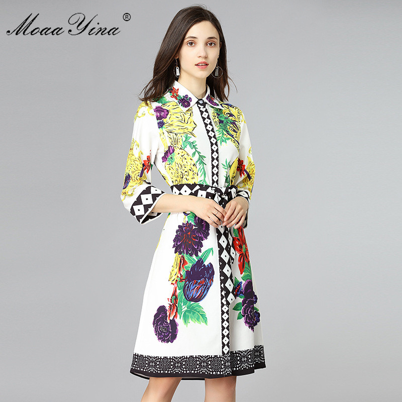 4 Blanc D'été Moaayina Fashion Manches print up Turn Femmes Piste Floral down Col 3 Designer Perlé Robe Holiday Lace Beach vwqnxHrvA