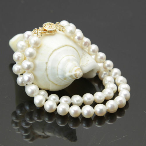 New 2 rows 7-8mm white freshwater cultured pearl bracelet  7.5""