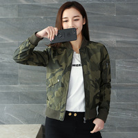 New women 2017 spring and autumn women fashion camouflage thin jacket long sleeves casual Slim lady jacket TB