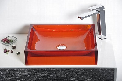 Bathroom acrylic resin counter top Square sink colourful ...