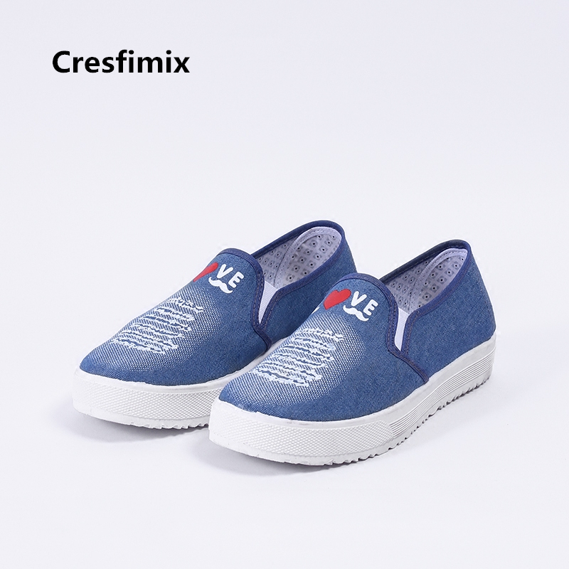 Cresfimix sapatos femininos women casual soft and comfortable loafers lady floral printed slip on flat shoes female cute flats cresfimix zapatos de mujer women fashion pu leather slip on flat shoes female soft and comfortable black loafers lady shoes