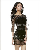 Free Shipping 2013 New Design Vestidos Colorful Special Occasion Beaded Crystal Elegant Short Black White Cocktail