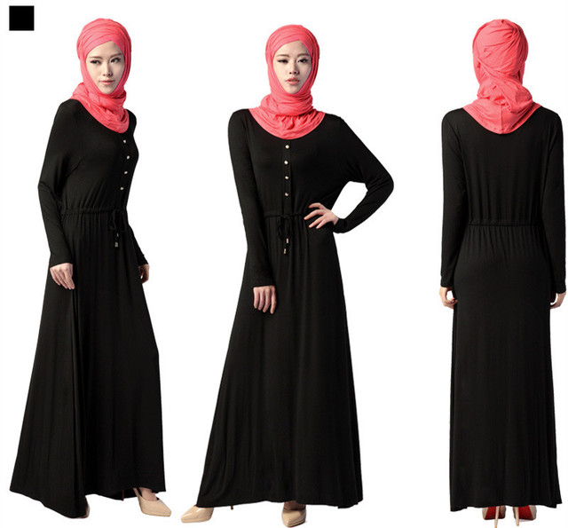 Muslim Women Long Sleeve Full Length Dress Solid color Kaftan Dress Arab Islamic Clothes Jibab Abaya