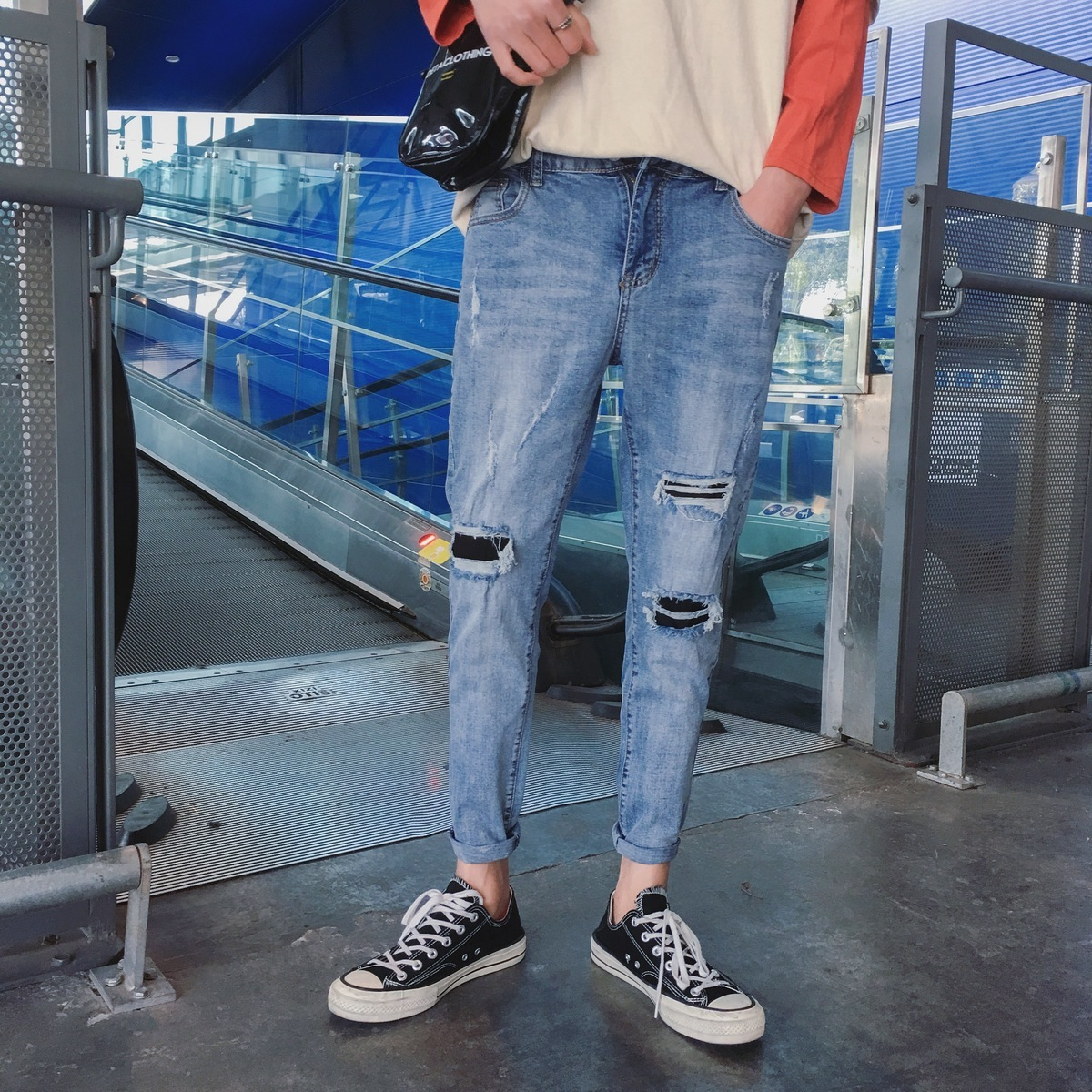 2018 Korean Style Mens Fashion Casual Classic Blue Holes Ankle-length Denim Pants Stretch Slim Fit Jeans Homme Trousers 28-34