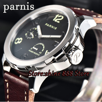 Men Mechanical Watch Parnis 44mm Power Reserved Steel Silver Case Purse Leahter Sapphire Luminous Date Automatic Self Wind Watch