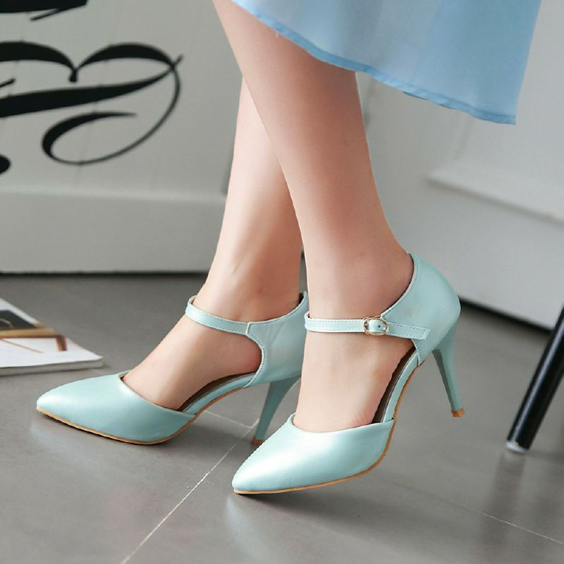 ФОТО New Spring Belt Buckle Women Pumps Big Size 33-43 High Heels Office Shoes Sexy Pointed Toe Dating Shoes