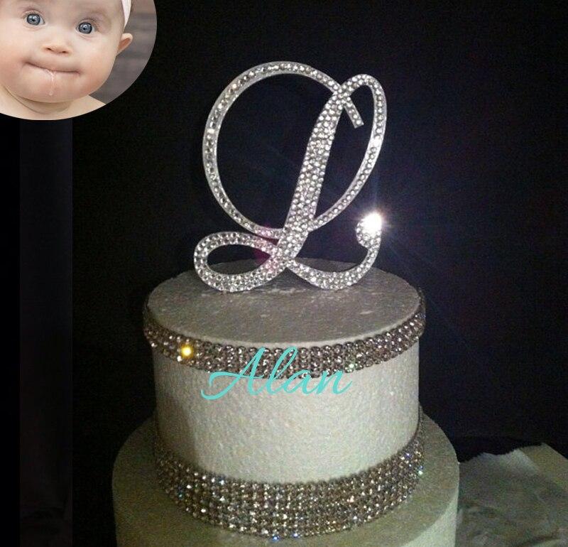Monogram Wedding Cake Topper Crystal Initial Any Letter A B C D E F G H I J K L M N O P Q R S T U V W X Y Z