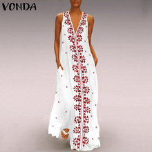 VONDA Women Floral Print Dress 2019 Vintage Sexy V Neck Sleeveless Maxi Long Party Vestido Casual Summer Beach White Dresses 5XL