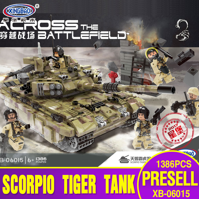 XINGBAO 06015 Genuine Military Series 1386Pcs The Scorpio Tiger Tank Set Building Blocks Bricks Toys Educational Christmas Gifts 8 in 1 military ship building blocks toys for boys