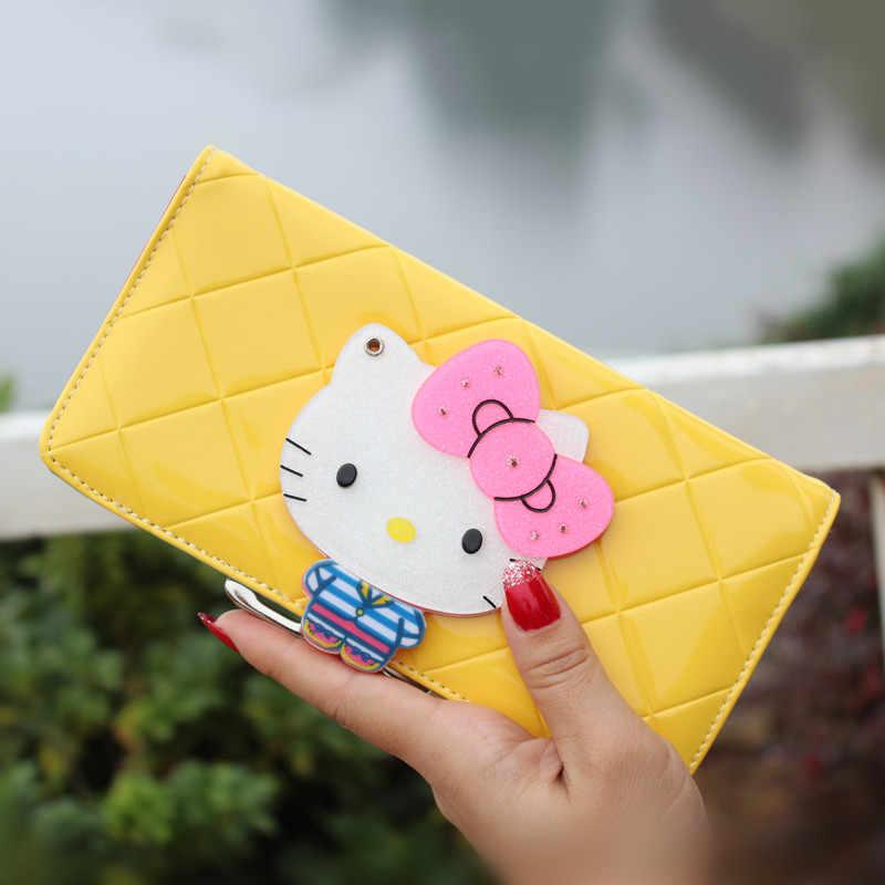 As mulheres do sexo feminino arco de couro famoso designer da marca olá kitty longas carteiras bolsas carteira feminina couro portefeuille femme 40
