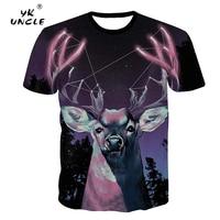 YK UNCLE Space Galaxy T Shirts Devil Deer Animal T Shirt 3D Printing Slim Fit Men Short Sleeves Harajuku 3D T shirt Clothing