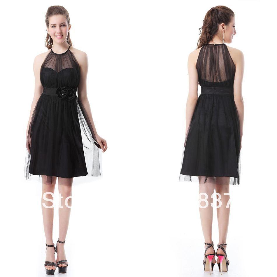 Aliexpress Com Buy Simple Elegant See Through Lace Part: Black Halter See Through A Line Knee Length Simple Elegant