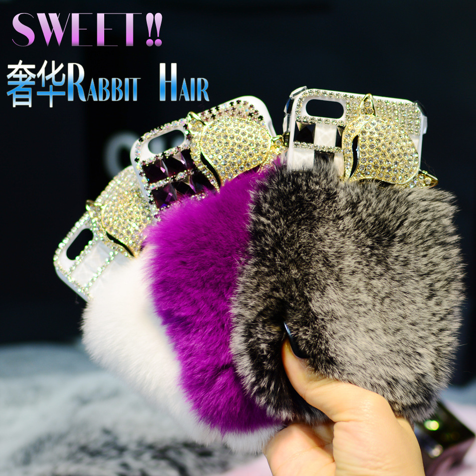 flip pu leather case luxury Rabbit hair fox fur head diamond iPhone 6 6plus 5S top Rhinestone holster - do la mi product Co.,Ltd store