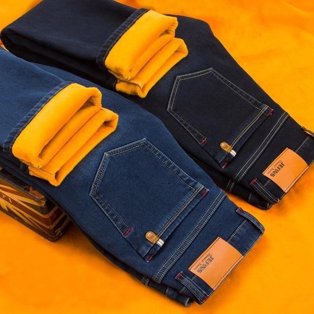 AIRGRACIAS 2019 Winter Nieuwe Mannen Warme Jeans Beroemde Merk Dikke Jeans Zachte Dikker Fleece Mannen Jeans Zwart/blauw Lange broek 28 40