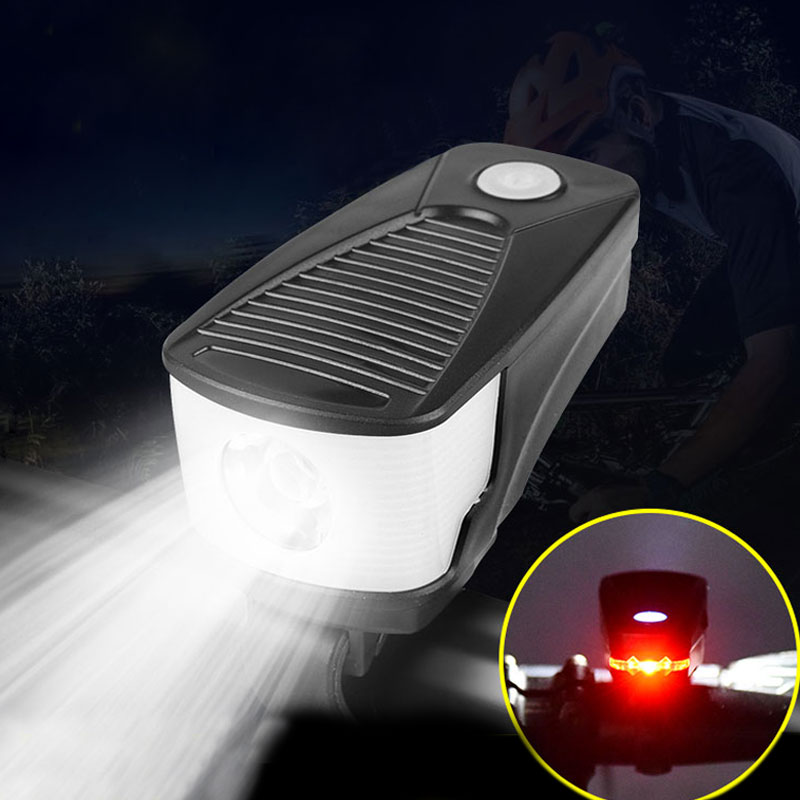 2 in 1 Bike Light Rear Warning Taillight Large Floodlight USB Rechargeable T6 LED Cycling Lamp Bicycle front Flashlight