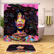 Hot Purple Afro With African Woman Hair Shower Curtain Polyester Fabric Printing Bathroom Waterproof Home