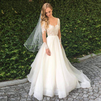 Long Sleeve Vestido de Noiva Lace Appliques Wedding Dress Backless Bride Dresses Tulle Bridal Gown Free Shipping Custom Made