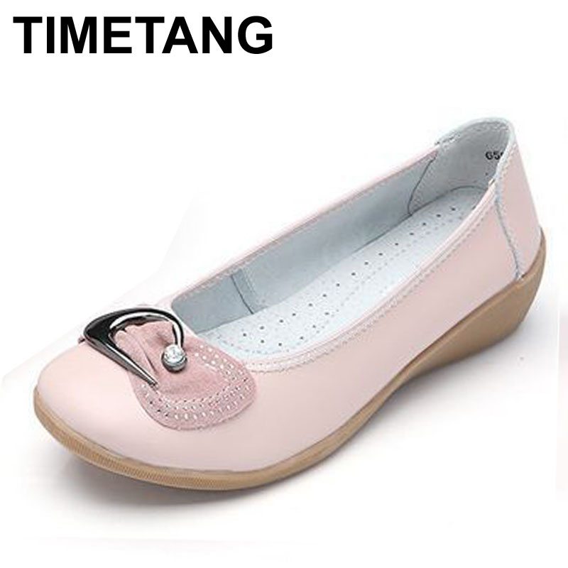 2016 Women Flats Shoes Woman Genuine Leather Mother Shoes Moccasins Women s Soft Leisure Flats Loafers