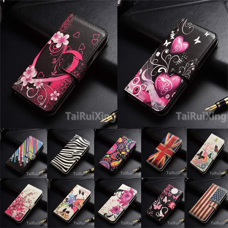 Fashion Love Heart Flowers Butterfly Leather Case Cover For <font><b>Samsung</b></font> <font><b>Galaxy</b></font> <font><b>J1</b></font> <font><b>Mini</b></font> J105 J1Mini <font><b>2016</b></font> <font><b>SM</b></font>-<font><b>J105H</b></font> Wallet Card Cover image
