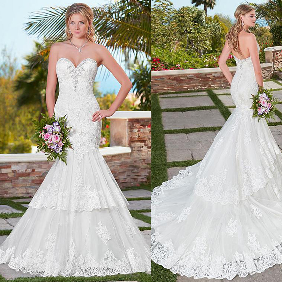 Lace Mermaid Wedding Gown With Tulle Skirt: Amazing Tulle Sweetheart Neckline Mermaid Wedding Dress