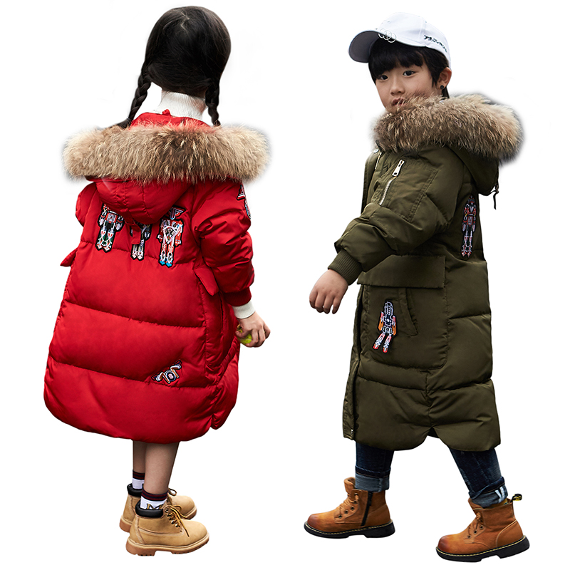 Girls Winter Coat Boys Down Jackets For Kids Snowsuit Robot Embroidery Children's Parkas Thicken Jacket For Girls Snow Wear 3-10 2016 winter boys ski suit set children s snowsuit for baby girl snow overalls ntural fur down jackets trousers clothing sets