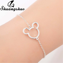 Shuangshuo Hollow Out Mickey Bracelets For Women Silver Bracelet Cartoon Mouse Stainless Steel femme Charm Jewelry