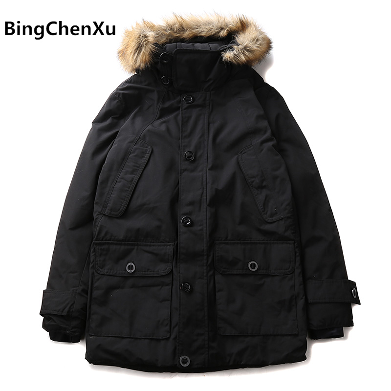2017 New Winter mens Warm Coat Long High quality Brand Down Jacket Plus size 3XL Handsome Overcoats male parka for men 576 raccoon big fur winter warm down jacket 2017 new men thick hooded coat long mens parka jacket high quality brand 3 color 790