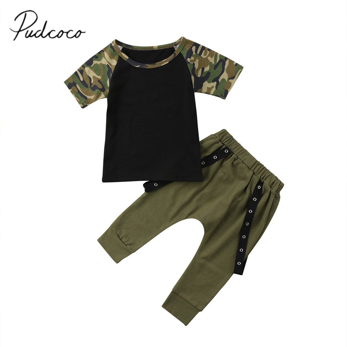 2018 Brand New Toddler Infant Kid Baby Boy Cotton Clothes Tops T Shirts Camo Tee Harem Pants 2Pcs Outfit Summer Clothes Set 1-6T easy guide to sewing tops and t shirts skirts and pants
